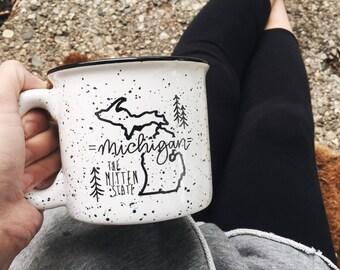 Michigan Campfire Mug 15 Oz | Coffee Mug | State Mug| Ceramic Coffee Cup | Dishwasher Safe | The Mitten State | Pure Michigan