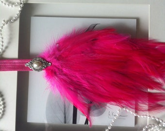 Pink feather headband