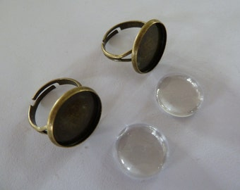 10 x 16mm ring blanks and matching glass domes - Antique Bronze