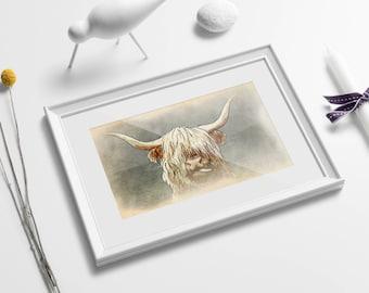 Highland Cow print, highlands print, highland cow decor, highland cow, highland cow art, farmhouse decor, highland decor, scottish cow print