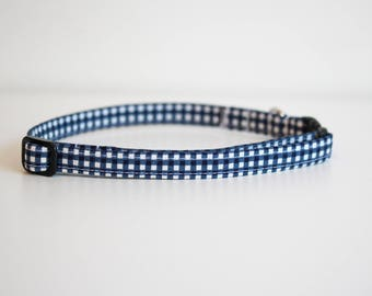 Georgie - Blue Gingham Cat Collar