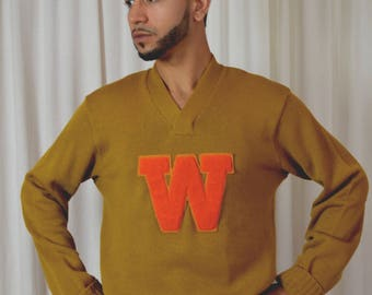 Vintage Football Sweater, Wisconsin Football, 1950 Letter Sweater, Pull Over, Size 46R, Gold Sweater, Wigwam Award Sweater, Letter Sweater,