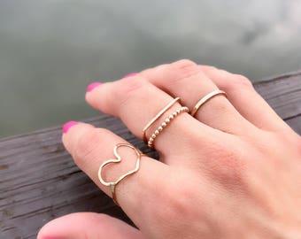 Stacking Ring, Gold Ring, Set Stacked Ring, Flat Top Ring, Set Ring, Bar Ring, Beaded Gold Ring, Luna Ring, Midi Ring, Stacking Gold Ring