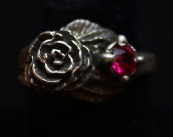 Rose with Red Stone - Sterling Silver Ring