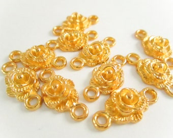 Gold Plated Flower Charm Connectors, Metal Findings, 19x9mm, Gold Connectors, Jewelry Making, Craft Supplies,