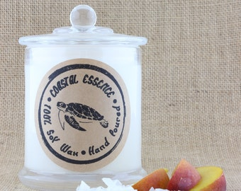Coconut & Peach, a beautiful Soy candle with a sweet fruity fragrance. Every candle purchased helps support Marine wildlife