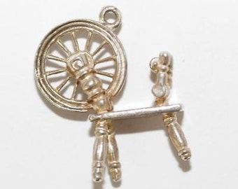 Vintage Spinning Wheel Sterling Silver Bracelet Charm / 3d Detail