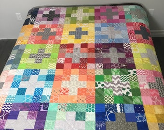 Scrappy Rainbow Grey Patchwork Cross Quilt Blanket