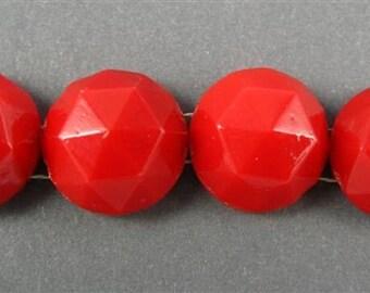 Vintage Glass Nail heads - 4 Round Lipstick Red