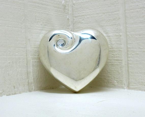 Vintage Silver Tone Wedding Ring Holder / Jewelry Box Heart Shaped Jewelry Box Swirl With Rhinestone