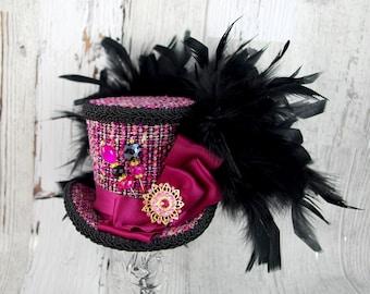 Fuchsia and Black Medium Mini Top Hat Fascinator, Alice in Wonderland, Mad Hatter Tea Party, Derby Hat