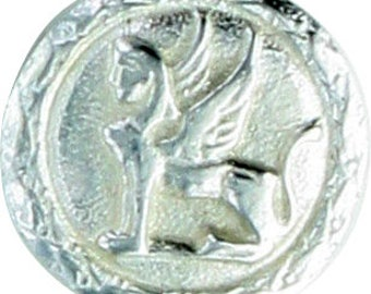 Small Griffin Button in pewter