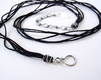 60cm Black Hemp Necklace ~ 24 inches ~ Handcrafted with Eco-Friendly Recycled Sterling Silver ~ Extension Chain with Clear Quartz Drop