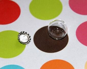 Antique silver glass ball globe pendant