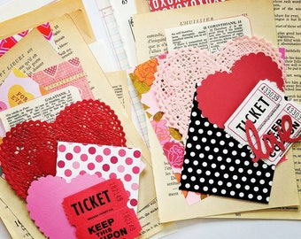 Valentine Mini Ephemera Paper Pack  / Vintage & New / DIY Kit / 20 Pieces / Journal / Daily Planner / Scrapbook Ephemera