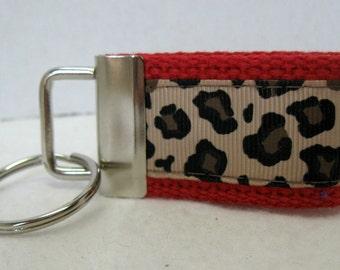 Mini Key Fob -Leopard Key Chain - RED - Animal Print Key Chain - Cheetah Zipper Pull -Red Cheetah Key Ring - Small Keychain