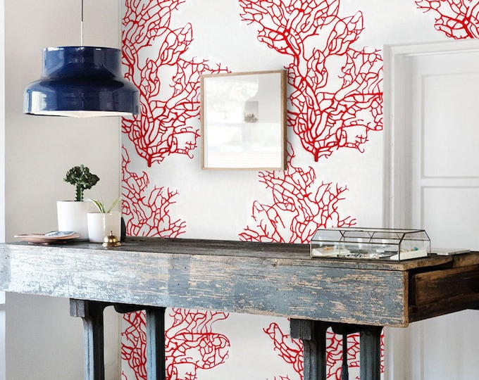 Red Coral Wallpaper, red coral, wallpaper, tropical wallpaper, vintage wallpaper, coral, removable wallpaper, wall mural
