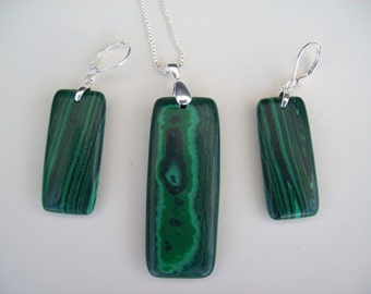 Malachite Pendant and Earring Set - Sterling Wires and Chain