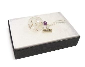 Amethyst gemstone Dandelion seed globe necklace, Make a Wish flower silver necklace