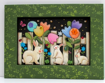 Tulip Garden Scene, White Picket Fence, Bunnies, Butterfly, Flowers, Butterflies, Garden Fence, Hand or Tole Painted, Reclaimed Wood Frame