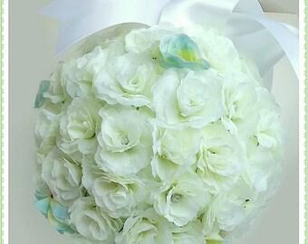 White rosebud flower ball, white wedding, white bridal flowers, bridesmaid flower ball, wedding decor, wedding flowers, silk flowers