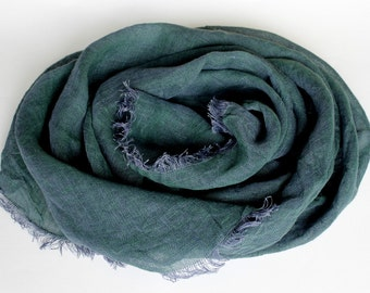 Pure Linen Man Scarf in Hunter Green. 100% Linen Scarf Violet Green Melange. XL Large Big Woman Scarf. Organic Flax Scarf. Birthday gift