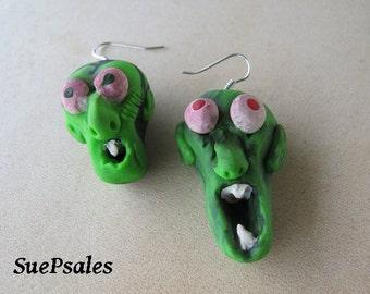 Zombie Earrings Halloween Earrings Halloween Jewelry Scary Creepy Green Zombies Polymer Clay