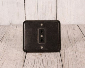 Vintage bakelit electrical socket plug, Wall-plug contact 1970s, Industrial power supply plug, Brown bakelite wall socket, 220V socket