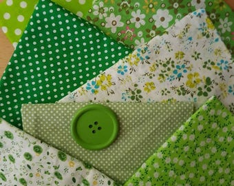 green fat quarters/7 fat quarter bundle /cotton/green/white/floral/dots/light weight/craft fabric/doll's /craft