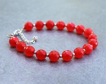 Orange Bead Bracelet, Orange Bracelet, Orange Beaded Bracelet, Orange Gemstone Bracelet, Topaz Bracelet, Orange and Silver Bracelet