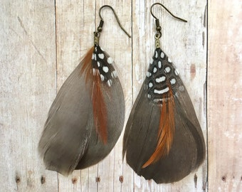 Natural Feather Dangle Earrings Guinea Hen Pheasant Rooster Bird Polka Dot Dangling Dangly Flowy Drop Tribal Earthy Goddess Statement