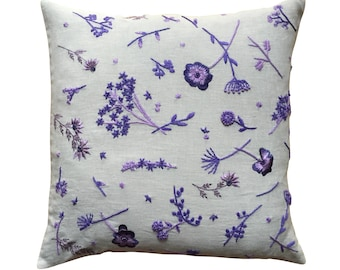 Meadow cushion, purple and lilac on dove grey linen