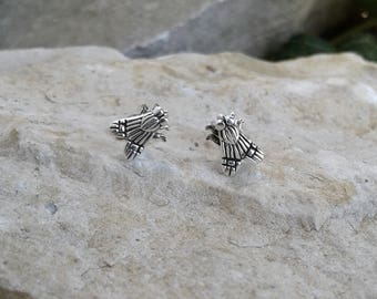 Fly Earrings, Solid Sterling Silver Fly Stud Earrings, Fly on the Wall Earrings, Insect Jewelry