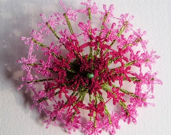 Shaded pink flower brooch - textile art, lacy machine embroidery on dissolvable fabric