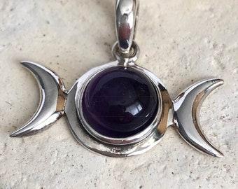 Amethyst Triple Moon 925 Sterling Silver Pendant