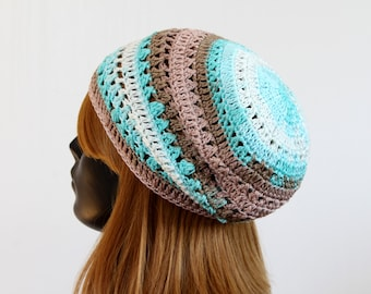 Women's crochet spring/summer slouchy beanie, lace tam beret, hippie boho hat, festival beanie, casual hat, sun protection, multicolored