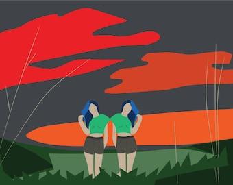 Creepy Twins Illustration Print