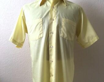 Vintage Mens 80's Yellow Shirt, Short Sleeve by Arrow (L/XL)