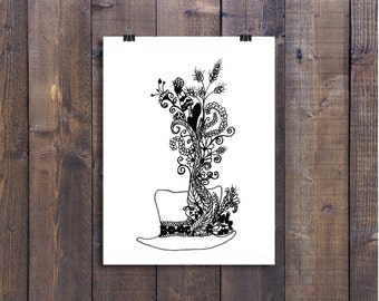 Pen and Ink Art, Black and White Print, Top Hat Drawing, Hat Drawing, Design Drawing, Hat, Art, Doodle Art, Art Card