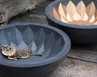 Bali Flower Bowl, charcoal concrete bowl with flower leaf pattern