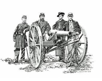 Civil War artillery art print