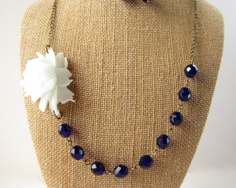 Flower Necklace Navy Blue Necklace Bridesmaid Jewelry Rose Necklace Wedding Jewelry Statement Necklace