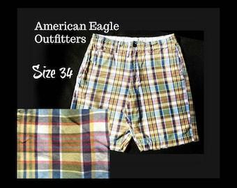 Men's brown blue plaid shorts -  Men's Bermuda Shorts - men's Cotton summer Shorts , size -34 shorts, # 11