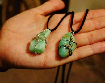 Amazonite Wire Wrapped Crystal Necklace