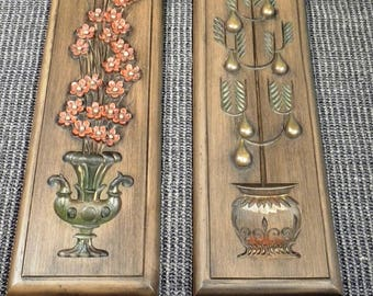 Vintage Mid Century Burwood Products 2 Floral Topiary Botanical Rectangle Pieces Wall Art Decor