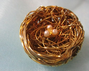 Marked Jeanne, Gold Wire Bird Nest with 3 Very Tiny Pearl Eggs Brooch, Pin