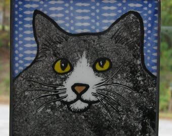 Stained Glass Cat Suncatcher gray tabby van JRNcat003