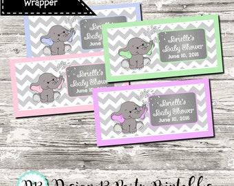 Elephant Gray Chevron Little Peanut Baby Shower Candy Wrapper Digital Printable