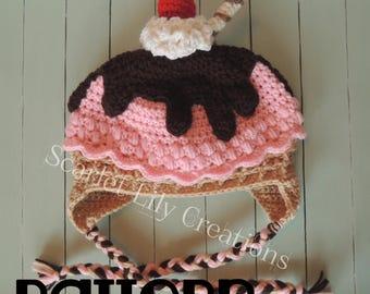 PATTERN:  Ice Cream Crochet Hat