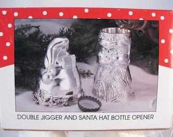 Vintage International Christmas Silverplated Double Jigger & Bottle Opener NIB